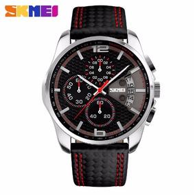 Relógio Skmei® Pulseira De Couro Com Cronógrafo - Oferta