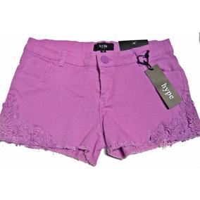 Short Mezclilla Color Violeta Aplicaciones Crochet 9 Juvenil