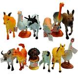 Animales Granja Caja X12 Animalitos Goma Souvenir Maqueta