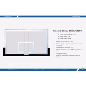 Tablero Oficial Basquetbol Transp Acrílico 12mm Trover Sport