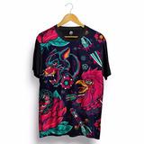 Camiseta Psicodélica Colorida Psychedelic Lobo Galo Swag Lsd