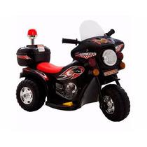 Mini Moto Eletrica Infantil Policia Bw-002 Motoca Preta