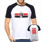 Camisa Raglan São Paulo Futebol Personalizada Com Nome