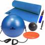 Kit Fisioterapia Bola Suíça 65cm C/ Extensores + Tapete + Di
