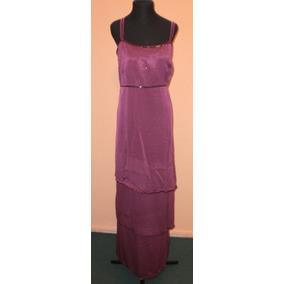 **vestido De Crepe Saten Y Gasa, Bordado.+ Chalina