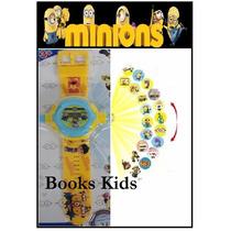 Minions Minios Relógio Projetor De Luz Com 32 Imagem Slides