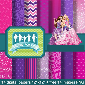 Kit Imprimible Pack Fondos Barbie Pop Star 75 Clipart