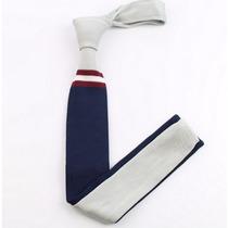 Corbata Fina Tejida Caballero Azul Gris