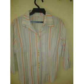 Camisa A Rayas Botones De Carey Verde -talle M