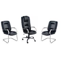 Kit Cadeira Escritório Conjunto Presidente + 2 Fixas