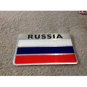 Emblema Russia Metal Inox Autocolante Frete Fixo R$ 8,00