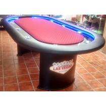 Mesa De Poker Con Led, Cubierta, Base Y Paño Profesional.