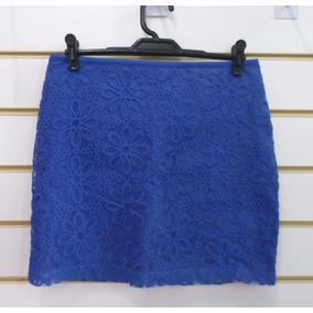 Saia Maria Antônia - Rendada - Azul Bic E Amarela