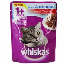 Whiskas Sachê Adulto Gatos Castrados Carne Ao Molho - Cx 18