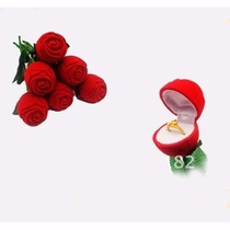 Porta Joias Rosa Anel Flor Aliança Presente Namoro Noivado