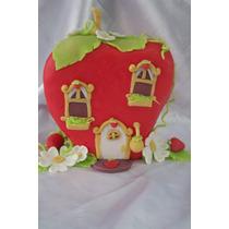 La Casita De Frutillita!!! En Porcelana Fria Para Tu Torta