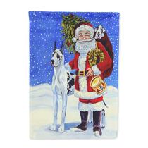 Arlequín Gran Danés Con Santa Claus Bandera El Tamaño De