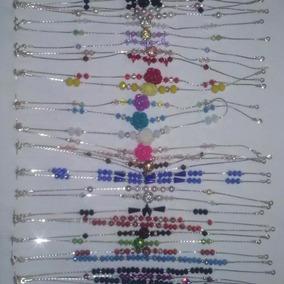 Pulseras De Moda Cadena Cristal Perlas Bisuteria Baño Plata
