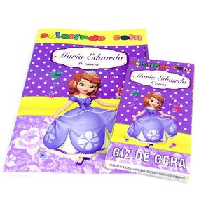 30 Kits Revistinhas Colorir + Giz Princesa Sofia