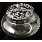 Antigua Caja De Vidrio Y Metal Plateado Regalo Navidad