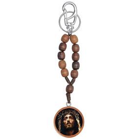 Chaveiro Dezena Madeira Face De Cristo Oração Da Serenidade
