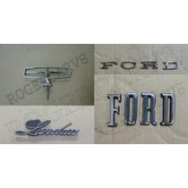 Emblema Ford Galaxie Landau Metal Kit Com 05 Emblemas Novos