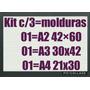 Kit C/03 Molduras/quadros Em Mdf/vidro P/ Fotos E Certificad