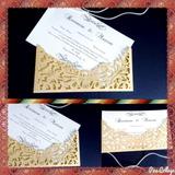 Convite Casamento Rendado Dourado 50 Unidades