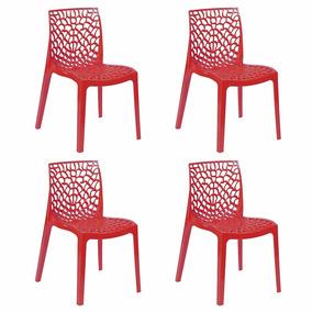 Kit Com 4 Cadeiras Gruvyer Italiana Polipropileno Vermelha