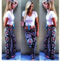 Pantalones Tipo Bombacho Estampado Tribal Ancho_azul