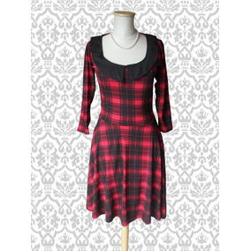 Vestido Estilo Pin Up. Vintage Escocés. Le Chat Noir