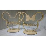 Centro De Mesa Mickey Ou Minnie Com Nome 10 Unidades