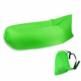 Colchonete Magico Puf Sofa Inflavel Saco Dormi Camping Verde