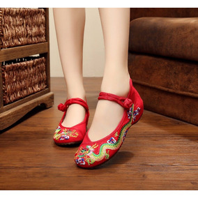 Zapatos Flat Bordado Danza Baile Ballerina Ballet Dragon