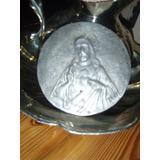 Antigua Imagen Peltre Sagrado Corazon De Jesus P/enmarcar