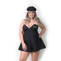 Plus Size Fantasia Feminina Policial Sexy Sensual