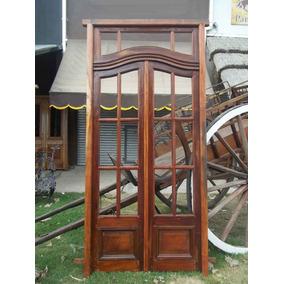 Puerta De Cedro Doble Hoja, Vidrios Repartidos / Medio Punto
