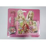 Relógio + Carteira Infantil Barbie Leve Já!
