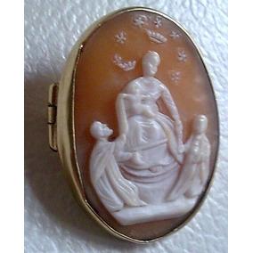 Prendedor Camafeo Oro 14 K Virgen De Pompeya