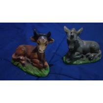Figuras De Pesebre En Yeso - Vaca/burro De 12 Cm - Navidad