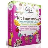 Kit Imprimible Oro Empresarial Invitaciones 2x1 + Regalos