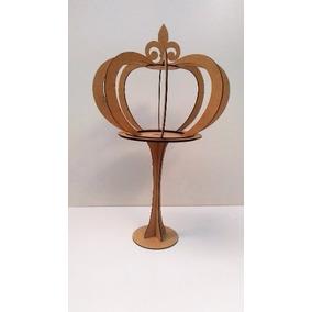 Coroa 3d Grande Com Pedestal Provençal Artesanatos Mdf Cru
