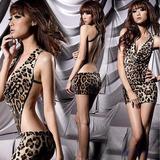 Lencería Sexy Vestido Animal Print Leopardo En V Baby Doll