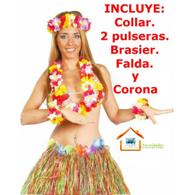 Traje Hawaiano,falda Brasier Hawaiana,corona,collar,entrega
