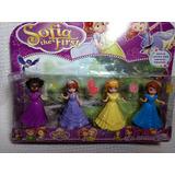 Kit 4 Bonecas Princesa Sofia Magiclip +4 Bichos -troca Roupa