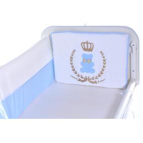 Kit Mini Berço Urso Rei Azul Marinho 10 Pçs Enxoval Bebê
