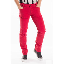 Pantalón Marca Diesel Talla 30 Rojo Jeans Mezclilla Slim