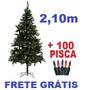 Arvore De Natal 2,10 M Verde + 100 Luzes Pisca Frete Grátis