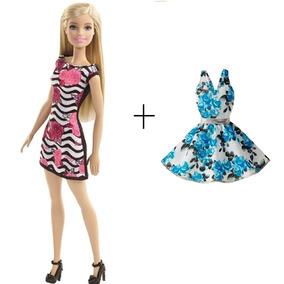 Barbie Fashion Chic Basica Loira + Vestido Roupinha 2 Looks