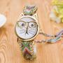 Reloj Para Niña Dama Mujer Tejido Con Gato Con Gafas Hermoso